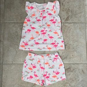 EUC Carter's Flamingo Pajama Set
